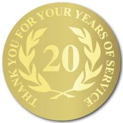 20 Years Gold Foil Stamped Award Stickers