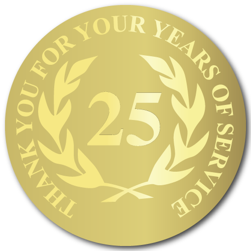 25 Years of Service, Foil Stamped Seals, 0.75 Inch Circles, Pack of 25