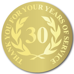 30 Years Gold Foil Stamped Award Stickers