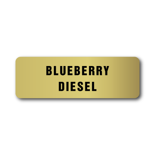 Blueberry Diesel, Gold Rectangle, Roll of 500 Stickers