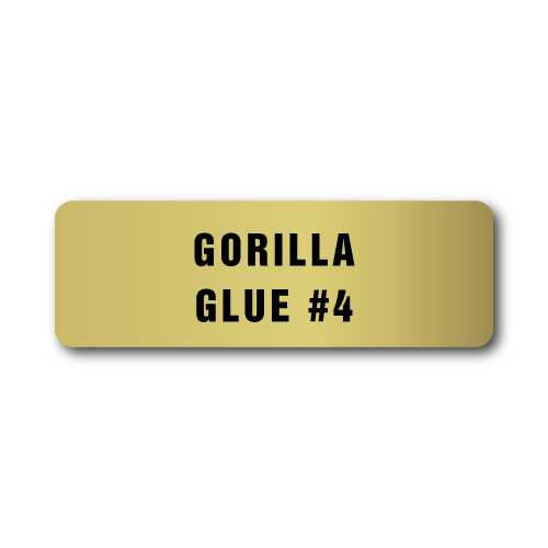 Gorilla Glue # 4, Gold Rectangle, Roll of 1,000 Stickers