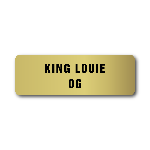 King Louie OG, Gold Rectangle, Roll of 500 Stickers
