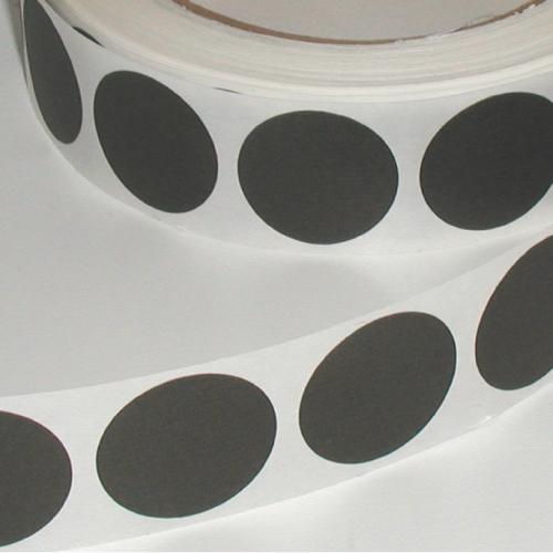 "1"" Black Matte Paper Circle Wafer Seals"