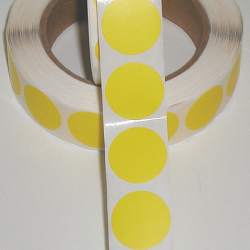 "1"" Yellow Matte Paper Circle Wafer Seals"
