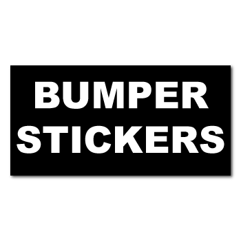 "3.75"" x 15"" Square Corner Rectangle Custom Printed 1 Color Bumper Stickers"