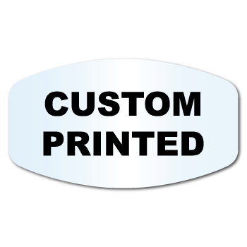 "1.125"" X 2"" Modified Oval Clear Custom Printed Stickers"