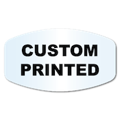 "0.75"" X 1.375"" Modified Oval Clear Custom Printed Stickers"