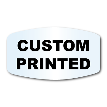 """1.125"""" x 2"""" Modified Oval Shape Clear Custom Printed Stickers"""