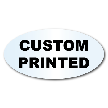 "1.4375"" x 2.1875"" Oval Clear Custom Printed Stickers"