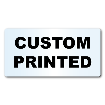 "0.375"" x 1.25"" Round Corners Rectangle Clear Custom Printed Stickers"