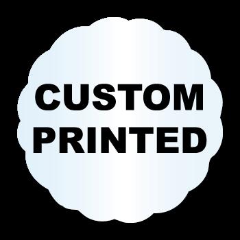 "1.625"" x 1.625"" Scallop Shape Clear Custom Printed Stickers"
