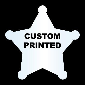 "2.75"" x 2.75"" Sheriff Star Shape Clear Custom Printed Stickers"