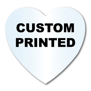 "2"" x 2"" Heart Shape Clear Custom Printed Stickers"