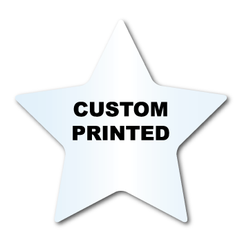 "2.75"" x 2.875"" Star Shape Clear Custom Printed Stickers"