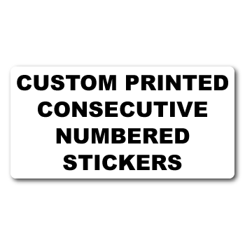 """1"""" x 0.375"""" Round Corner Rectangle Custom Consecutive Numbering Outdoor Stickers"""