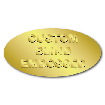 "0.75"" x 1.5"" Oval Custom Blind Embossed Stickers"