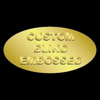 "0.75"" x 1.5"" Oval Custom Blind Embossed Stickers"