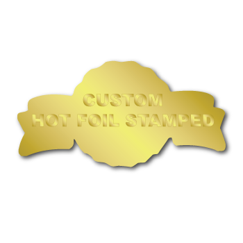 """1.375"""" x 2.625"""" Anniversary Special Shape Custom Hot Foil Stamped Stickers"""