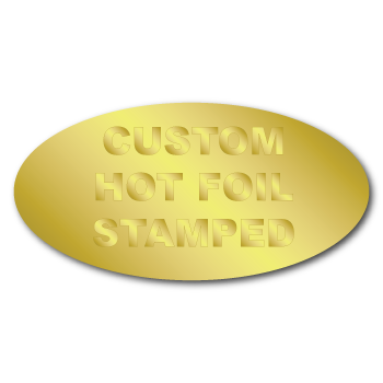 """0.75"""" x 1.5"""" Oval Custom Hot Foil Stamped Stickers"""