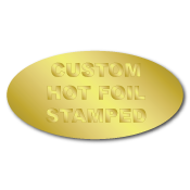 "0.75"" x 1.5"" Oval Custom Hot Foil Stamped Stickers"