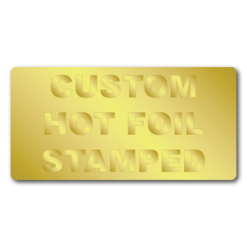 """0.5"""" x 1"""" Round Corners Rectangle Custom Hot Foil Stamped Stickers"""