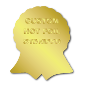 """1.625"""" x 2"""" Ribbon Special Shape Custom Hot Foil Stamped Stickers"""