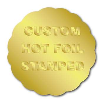 """1.625"""" x 1.625"""" Scallop Special Shape Custom Hot Foil Stamped Stickers"""