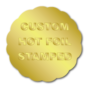 "1.625"" x 1.625"" Scallop Special Shape Custom Hot Foil Stamped Stickers"