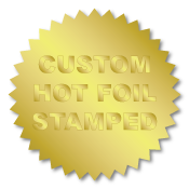 1.25 Inch Burst Circle Custom Hot Foil Stamped Stickers