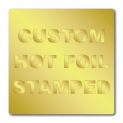 "1.5"" x 1.5"" Round Corners Square Custom Hot Foil Stamped Stickers"