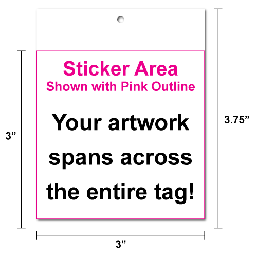 "3"" x 3"" Square Corner Square Hang Tag Stickers"