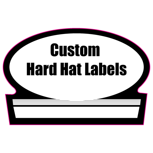 1.75 x 2.625 Custom Shape Custom Printed Hard Hat Labels