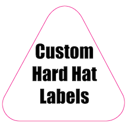 2.125 x 2.25 Round Corner Triangle Custom Printed Hard Hat Labels
