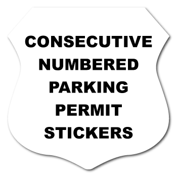 2.75 x 2.75 Badge Custom Printed Inside Parking Permit Numbered Front Adhesive Stickers