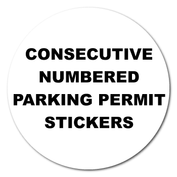 "2.5"" Circle Full Color Custom Printed Parking Permit Numbered Stickers"