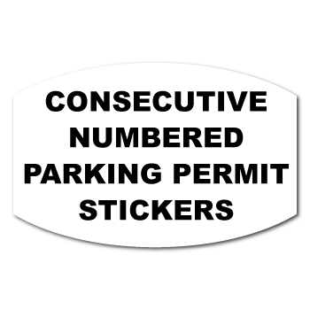 1.5  x 2 Modified Oval Custom Printed Inside Parking Permit Numbered Front Adhesive Stickers