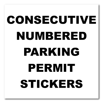 3 x 3 Square Corner Square Custom Printed Inside Parking Permit Numbered Front Adhesive Stickers