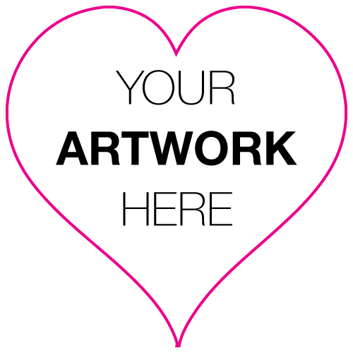 "1"" x 1"" Heart Shape Custom Printed Stickers"