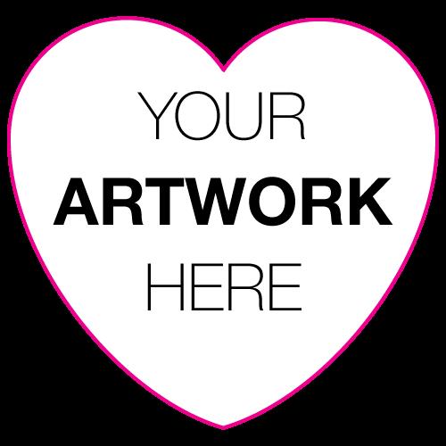 "2.875"" x 2.75"" Heart Shape Custom Printed Stickers"