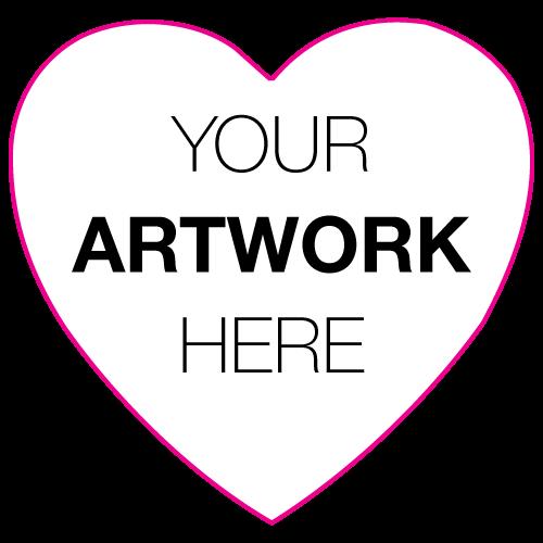 "1.125"" x 1.125"" Heart Shape Custom Printed Stickers"