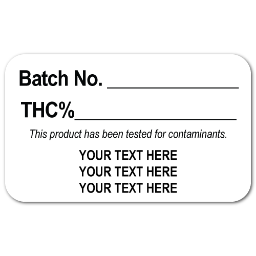 0.75 x 1.25 Round Corner Rectangle, THC Batch Labels, Printed Black on White Matte Paper Custom Printed Stickers