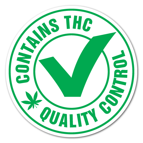 1 Inch Circle QC Contains THC Labels, Printed Green on White Gloss Paper, Custom Printed Stickers