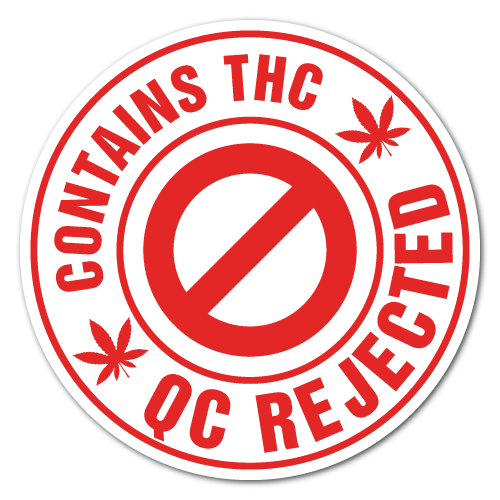 1 Inch Circle QC Contains THC REJECTED Labels, Printed Red on White Gloss Paper, Custom Printed Stickers