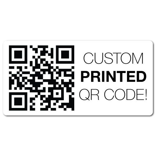 "1"" x 2.5"" Round Corners Rectangle Custom Printed QR Stickers"