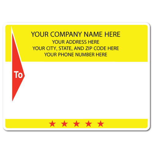 "5"" x 4"" Round Corner Rectangle Mailing Labels, Design F"