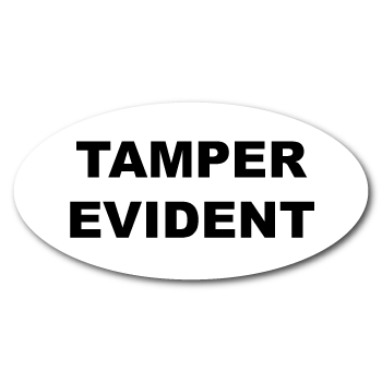 """0.5"""" x 1"""" Oval Custom Printed Tamper Evident Stickers"""