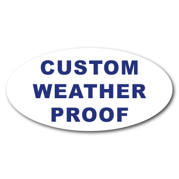 "0.75"" x 1.5"" Oval Custom Printed Weather Proof Stickers"