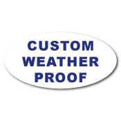 "1.625"" x 3"" Oval Custom Printed Weather Proof Stickers"