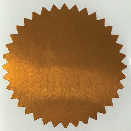 2 Inch Shiny Copper  Notary & Certificate Foil Seals Stickers