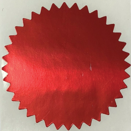 2 Inch Shiny Red  Notary & Certificate Foil Seals Stickers